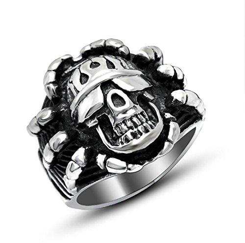 Beydodo Titan Herren Ring Schädel Totenkopf Freundschaftsring Gothic Ring Silber Größe 52 (16.6) - Schädel-ringe-titan