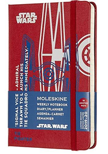 Moleskine agenda settimanale 18 mesi star wars in edizione limitata, caccia stellare tie, diario accademico 2019/2020 con copertina rigida, dimensione pocket 9 x 14 cm, 208 pagine