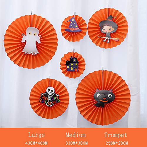 Halloween Paper Fan Blume Color Papier Ghost Festival Theme Party Dekorieren Dekorationen Bar Szene Festival Artikel Pendant 6 Stücke,Orange