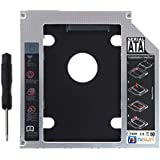 nisun Optical 2nd Bay Hard Drive Caddy, Universal for 12.7mm CD/DVD ROM Drive Slot (for SSD and HDD)
