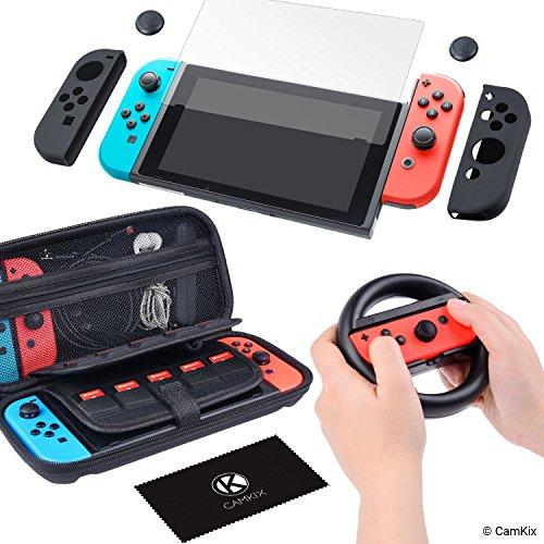 CamKix Nintendo Switch Kit: 1x Hartschalen-Nylontasche mit 20 Einsätzen für Game Cards, 1x Displayschutzfolie aus gehärtetem Glas, 1x Lenkrad, 2x Joy Con Cover, 2x Daumengriff-Cover, 1x Reinigungstuch