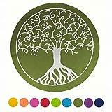 maylow - Yoga mit Herz - Yogakissen Meditationskissen mit Stickerei Baum des Lebens 33x15 cm mit Bio-Dinkelspelz gefüllt - Bezug