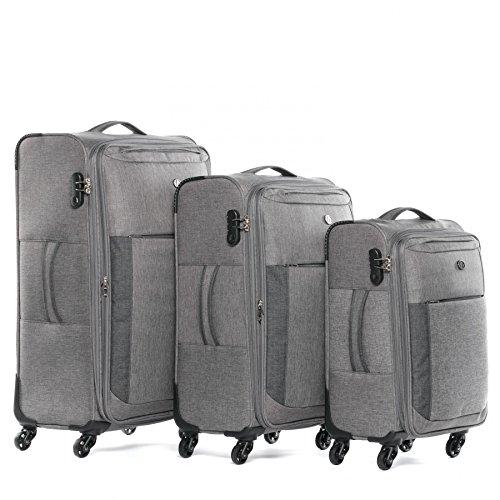 FERGÉ Set di 3 valigie viaggio Saint-Tropez - espandibile - leggero bagaglio da 3 morbido tre pz. valigie con 4 ruote 360° grigio