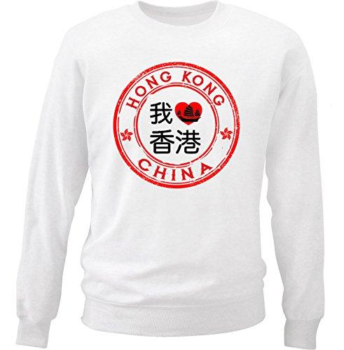 Teesquare1st Men's HONG KONG White Sweatshirt Size XLarge