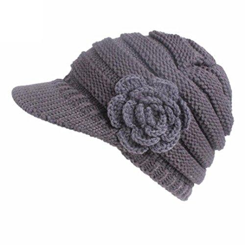 FEITONG Damen Winter Strickmütze Berets Turban Krempe Hut Caps Frauen Kappen Herbst Winter Berets (1PC, Grau-1) (Kappe Klassische Karierte)