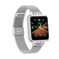 Aliwisdom Smartwatch voor dames, 1,22 inch scherm, fashion sporthorloge, waterdicht, bluetooth, fitnesstracker voor iOS Android, met gezondheidsmonitor, intelligente herinneringsfunctie, zilver