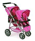 Bayer Chic 2000 689 48 - Tandem-Buggy Vario, Zwillingspuppenwagen für Puppen bis ca. 50 cm, Pinky Balls