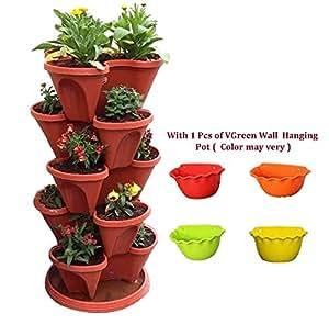 VGreen Garden Store Floor Pot (Brown) - Set of 7 (6 Pot + 1 Bottom Tray)