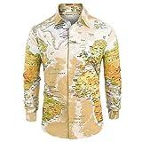 MäNner LäSsiger Weltkartendruck Mit Knopf Shirt Top Bluse