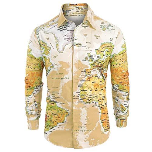MäNner LäSsiger Weltkartendruck Mit Knopf Shirt Top Bluse (Pulp Halloween-kostüme Fiction)