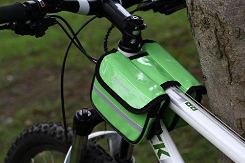 Tofern Fahrrad Radfahren Doppeltasche Rahmentasche Fahrradtasche vorne regendicht Grün