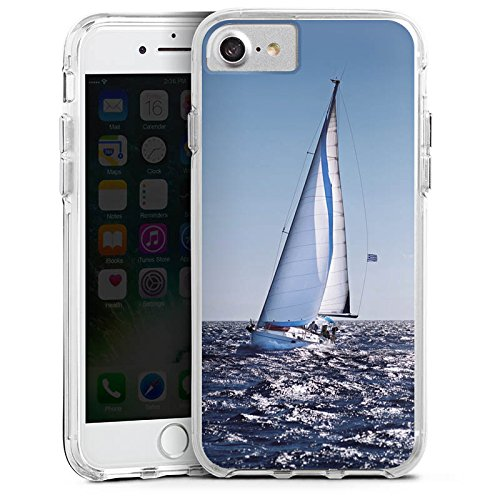 Apple iPhone 6 Plus Bumper Hülle Bumper Case Glitzer Hülle Segeln Sailing Segelboot Bumper Case transparent