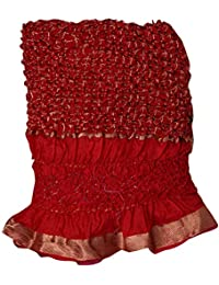 Banhi Women's Ethnic Pure Silk Hand Work Gharchola Dupatta With Zari Work - Red