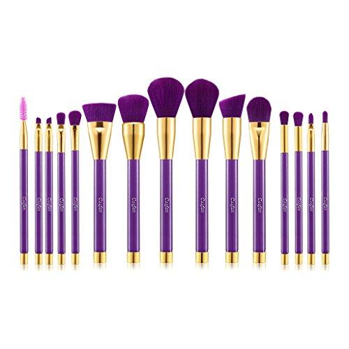 15 PCS Pinceau de maquillage Professional Premium Synthetic Kabuki Foundation Blending Blush Correcteur Eye Face Liquide Poudre Crème Cosmétiques Brushes Kit Pour le visage, l'œil et les lèvres Beauté impeccable (Purple Golden)