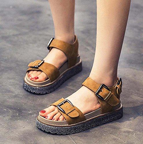 4,5 centimetri Tacco a cuneo scamosciato sandalo D'Orsay Spessore inferiore sandali Sandali di Roma Donne Retro Aprire il piede Cavo Cinturino alla caviglia Fibbia della cintura Scarpe casual Scarpe d camel