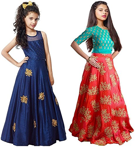 Market Magic World Girl\'s Blue & Orange Banglori Semi Stitched Combo Pack lehenga Choli, Salwar Suit, Gown (Kids Wear_Free Size_8-12 Year age)