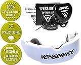 Vengeance MMA Zahnschutz+Hygienebox+Anleitung für MMA, BJJ, Boxen, Muay Thai, Kickboxen, Rugby, Hockey, Football, in schwarz & weiß - universeller Kampfsport Mundschutz für Erwachsene & Kinder