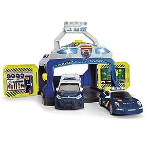 Dickie- Policía Nacional Playset Comisaría con Dos vehículos 17cm 1155020 Juguete con función, Multicolor