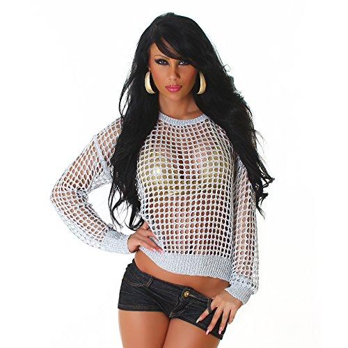 Unbekannt Damen Pullover Shirt Netz Loch-Optik Gogo Top Langarm Rundhals Glitzer Hüftlang Einheitsgröße 34,36,38,40 Silber