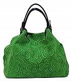 BOZANA Bag Lea grün Italy Designer Damen Handtasche Ledertasche Tasche Wildleder Prägung Shopper Neu