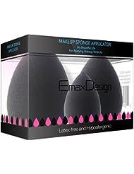 EmaxDesign 3 Stück Make-up Schwamm Foundation Blending Blush Concealer Augen Gesicht Pulver Creme Kosmetik Beauty Make up Blender Schwämmchen. Latexfreien AntimikrobiellenSchaumstoff Gegen Bakterien