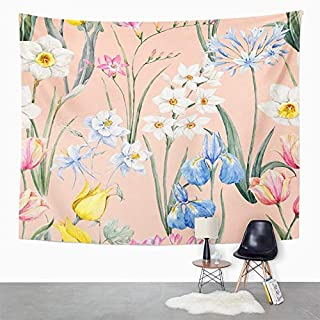 Eriesy Wall Tapestry Watercolor Floral Spring Botanical Tulip Flowers Narcissus Pink Freesia Blue Tapestry Wall Hanging Home Decorations Mysterious for Bedroom Home 150x200cm