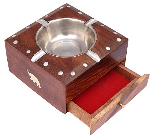 ITOS365 Handmade Wooden Ashtray with Cigarette Holder 4 Slots for...