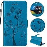 """Sycode Custodia per iPhone 8,PU Custodia in Pelle Magnetica Carina Farfalla Albero Fiore Formica Portafoglio Cover per iPhone 8/7 (4.7"""")-Blu"""