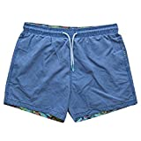 Mens Classic Swim Boxer Shorts Floral Lining XL Blue