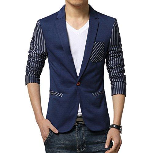 MRSMR Homme Nouveau Rayures Motif Haut Blazer Coton Casual Affaires Veston Costume Veste Bleu