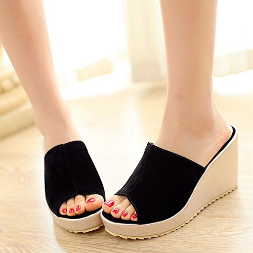 RizaBina Femmes Mode Compenses Peep Toe Talons Hauts Plateforme Sandales Noir