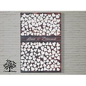 70x50 cm, Herz Design mit oder ohne Datum - Leinwanddruck Gästebuch, Hochzeitsbaum, Wedding Tree, Gästebuch, Baum, Leinwanddruck auf Keilrahmen, Herz Motiv, Holzoptik