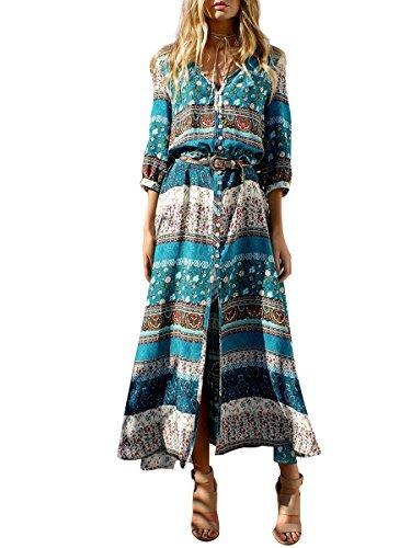 Simplee Apparel Damen Kleid Vintage Print V-Ausschnitt Boho Schlitz Kleid  Maxi Kleid Strandkleid Dress