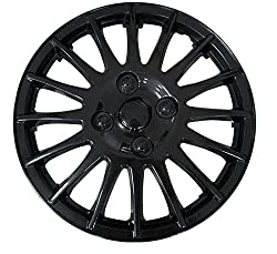 XtremeAuto® 14'' Race Sport Black Car Wheel Trim Hub Cap Covers Multi-Spoke - Includes Chrome Valve Caps and Black Cable Ties