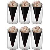 6x 200ml doppelwandige Thermogläser im Spitzglasdesign mit Schwebe-Effekt, ideal für Tee, Kaffee, Cappuchino, Saft, Eis, Spikey von Feelino