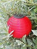 Roter XL 30 cm Lampion mit warmweißer LED Solar Lampion Party Laterne - LED Lampion aus strapzierfähigem Nylongewebe - erhältlich in den angegebenen Farben - 20 cm oder 30 cm Durchmesser auswählbar - mit integriertem Solarmodul und Batterie im Lieferumfang für freie Standortwahl - tolle stimmungsvolle LED Garten Beleuchtung (30 cm Durchmesser, rot)