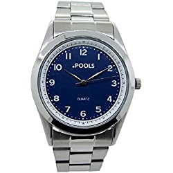 POOLS men's Quartz Watch Analogue Display and Stainless Steel Strap 3052