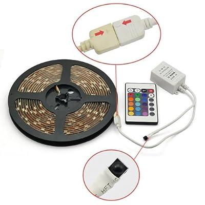 SainStyle RGB SMD5050 5M Wasserdicht LED Strip Leiste Streifen 16 Farbe Mit 24 Taste-Fernbedienung Controller Trafo LED-Beleuchtung (Netzteil enthaltend) von RoboTrader auf Lampenhans.de
