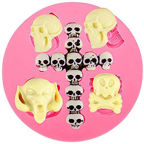 anyana Halloween Totenkopf Silikon für Fondant, Kuchen dekorieren Teig Gum Werkzeug Gebäck Küche Werkzeug Zucker Paste Backform Cookie Gebäck (Zucker Cookies, Halloween)