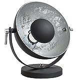 Moderne Tischlampe STUDIO 40 cm schwarz silber E27 Lampe mit Blattsilber Tischleuchte Wohnzimmerlampe