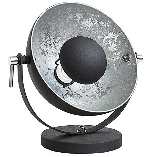 Modern Studio (Moderne Tischlampe STUDIO 40 cm schwarz silber E27 Lampe mit Blattsilber Tischleuchte Wohnzimmerlampe)