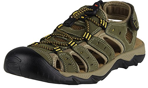 iLoveSIA Mens Athletic and Outdoor Closed-Toe Leather Sandals Khaki UK 11 (Lable 47)