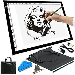 A3 Mesa de luz con Bolsa de Transporte Gratis , Ultra Delgado LED Portátil Mesa de Dibujo con luminosidad ajustables, ideal para Dibuja/ Diseño / Manualidades Negro