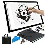 Yaufey® A3 Tavoletta luminosa con luce regolabile. Per disegnare contorni e tatuaggi; trasferire diapositive e disegni su tessuti (A3 USB Adattatore)