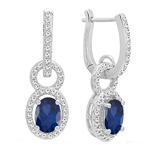 DazzlingRock Collection - 18 Karat Weißgold Oval Blue Blauer Saphir