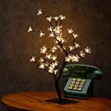 Excelvan 0.45m/1.5ft 48LED Cherry Blossom Bonsai Style Tree Table Lamp,Adjustable Creative Warm White Lights with Black Branches, Perfect for Home/Festival/Party/Wedding Christmas, Indoor & Outdoor Decoration