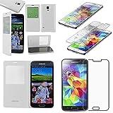 ebestStar - Cover Compatibile con Samsung S5 G900F, Galaxy S5 New G903F Neo Custodia Portafoglio Protezione Libro Flip Finestra View, Bianco + Vetro Temperato [Apparecchio: 142x72.5x8.1mm 5.1'']