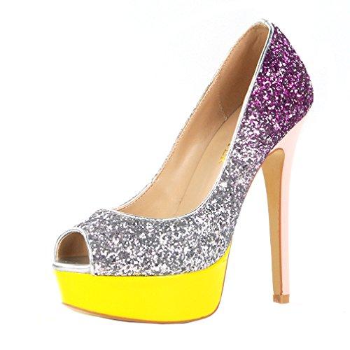 ENMAYER Frauen PU-Material Pumpen mischten Farben High Heels Peep Toe  Plattform Stiletto Party Schuhe b21f47854c