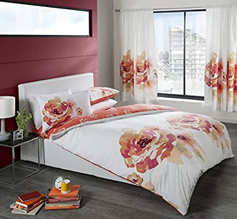 MODERN DUVET SETS WITH ORANGE PEACH & PINK FLOWER PRINT QUILT COVER BED SET (Superking)