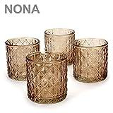 NONA ORIS rost braun - 4er Set Teelichtglas - Teelichtgläser Kerzenglas Kerzengläser Kerzenhalter